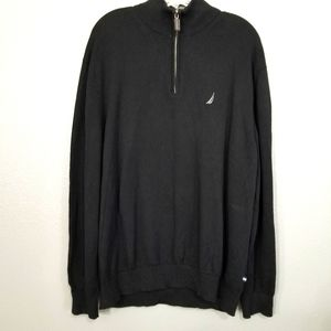 Nautica Black Quarter Zip Pullover Sweater sz XXL